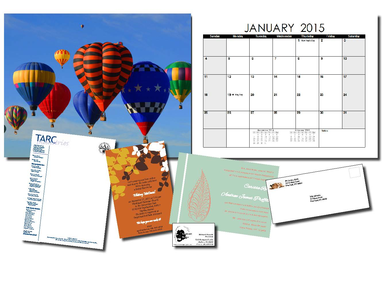 Affordable, High Quality Printing Solutions we can print calendars, letter head, wedding invitations, brochures and more!